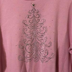 Pink 3/4 length Christmas tree shirt.